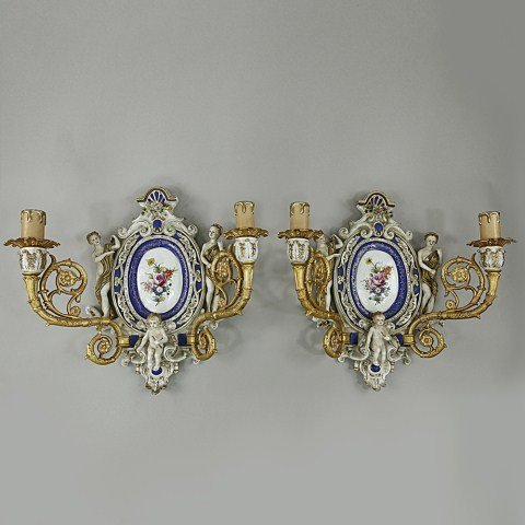 PAIR OF FINE PORCELAIN WALL LIGHTS