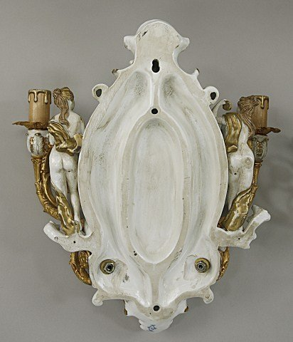 PAIR OF FINE PORCELAIN WALL LIGHTS - 3
