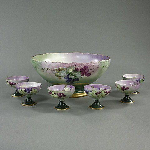 PORCELAIN HAND-PAINTED PUNCH BOWL WITH SIX CUPS