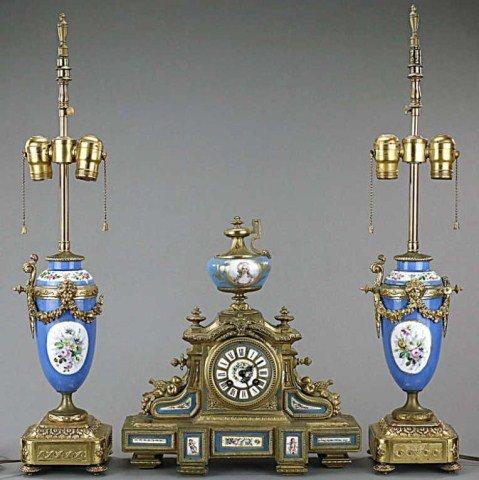 FRENCH THREE-PIECE MANTEL CLOCK SET