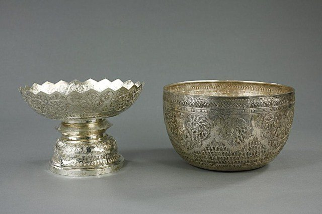 SILVER HAND CHASED BOWL AND FOOTED COMPORT