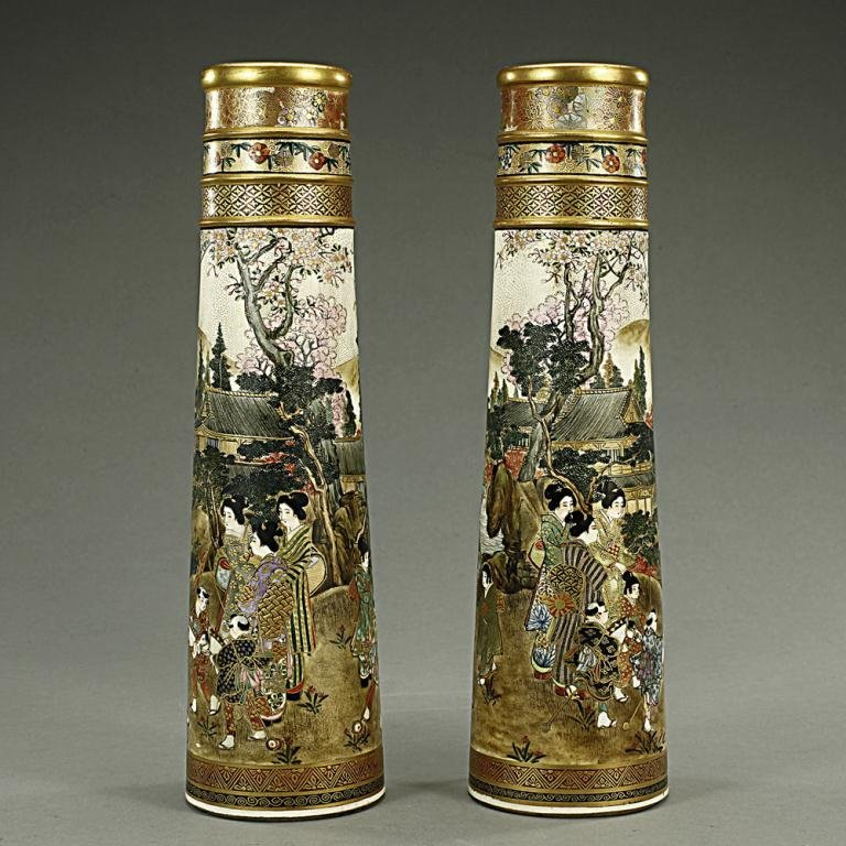 PAIR OF JAPANESE SATSUMA CONICAL SHAPED VASES