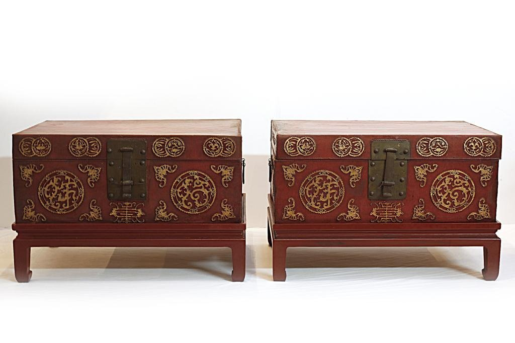 PAIR OF CHINESE LEATHER CHESTS