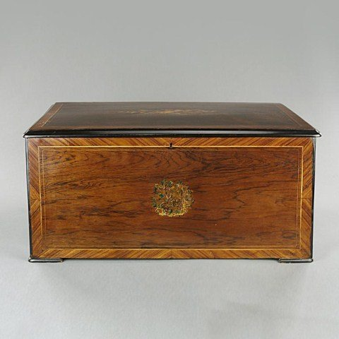 19TH C  INLAID MAHOGANY  MUSICAL BOX