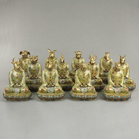SET OF 12 CHINESE CLOISONNÉ FIGURES OF ZODIAC SIGNS