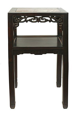 CHINESE CARVED WOOD SIDE TABLE WITH MARBLE TOP