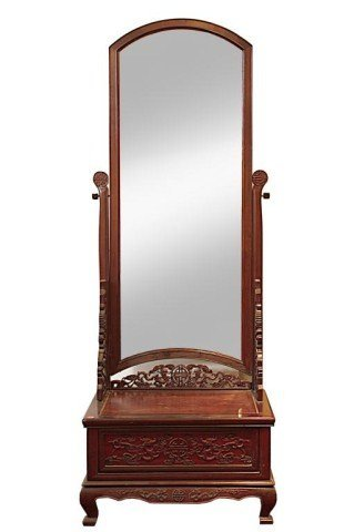CHINESE CARVED WOOD VALET MIRROR