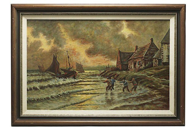 RUSSIAN OIL PAINTING OF WORKMEN PULLING A SHIP