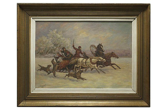 RUSSIAN OIL PAINTING OF HORSES IN SNOW FOREST