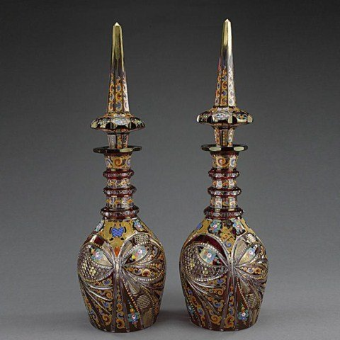 PAIR OF BOHEMIAN OVERLAY RED DECANTERS