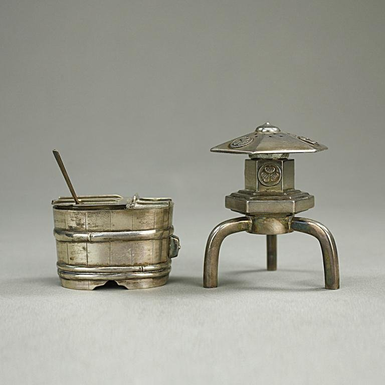 TWO SILVER PLATED SPICE HOLDERS