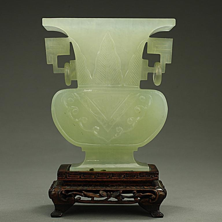 CHINESE CARVED CELADON JADE VASE ON STAND