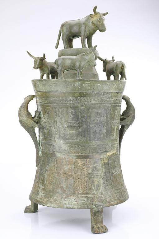 CHINESE BRONZE URN WITH COVER