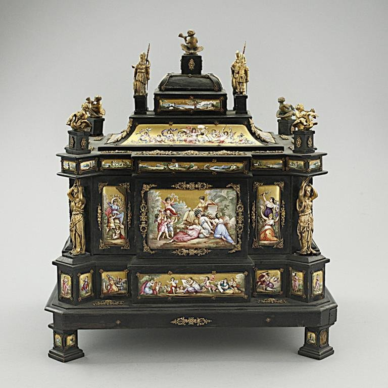 Hand-painted Antique Enameled Venetian Jewelry Box