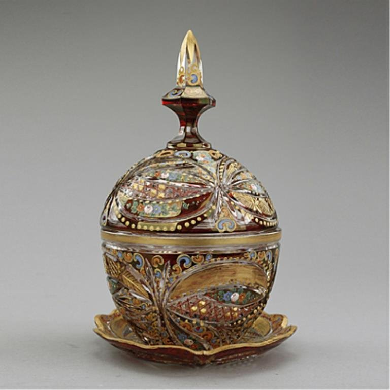 Ruby-colored Cut Glass Covered Bonbon Dish, with Tray