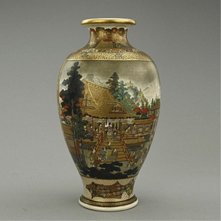 Magnificent Hand-painted Japanese Satsuma Vase