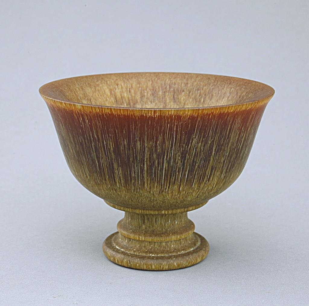 Chinese Carved Horn Footed Bowl