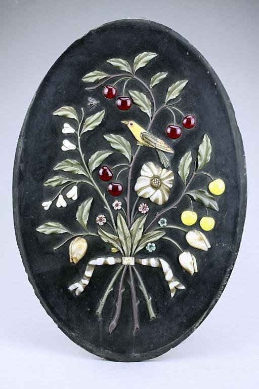 Oval Pietra Dura Panel with Hard Stone In-lay