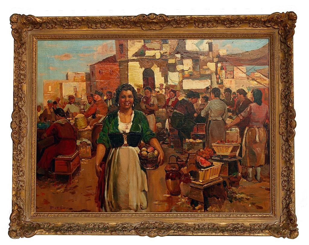 Italian Painting on Canvas of a Rural Town