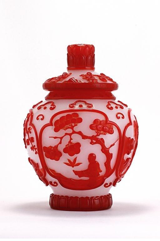 Chinese Red Overlay Peking Glass Covered Jar