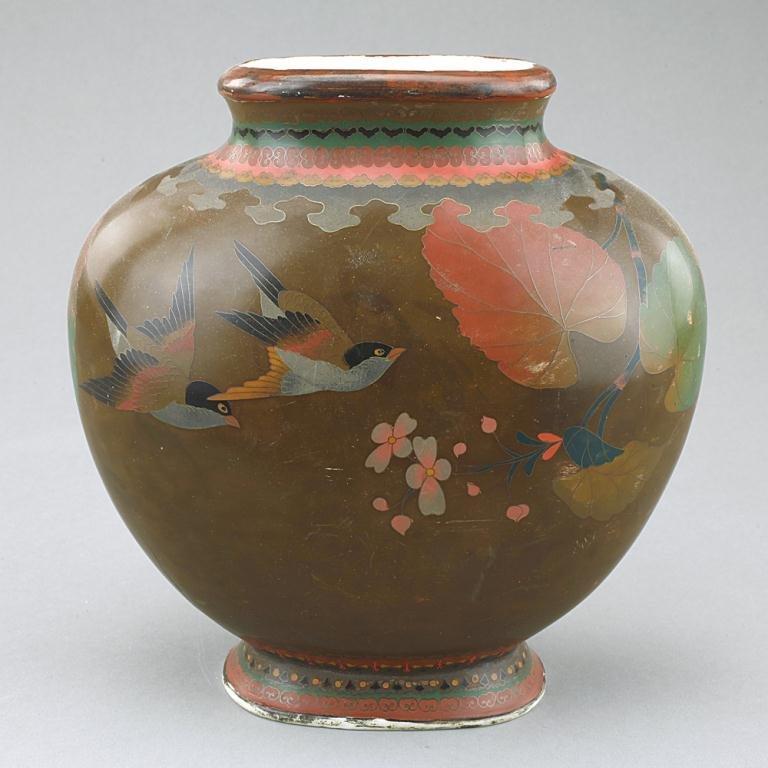 Japanese Cloisonné On Porcelain Pear-shaped Vase