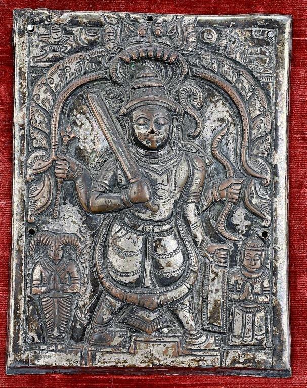 Antique Tibetan Bronze Mounted Plaque