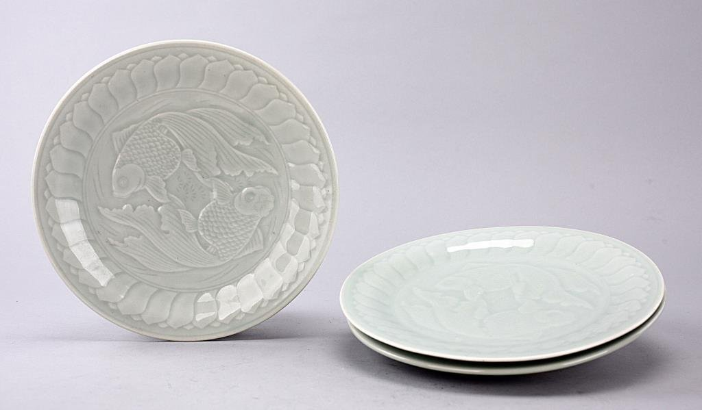 Set of Three Chinese Celadon Double Fish Plates