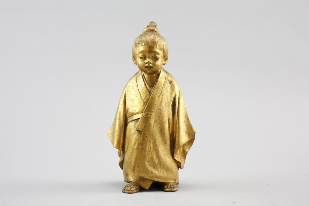 Japanese Gilt Bronze Figure, of A Boy