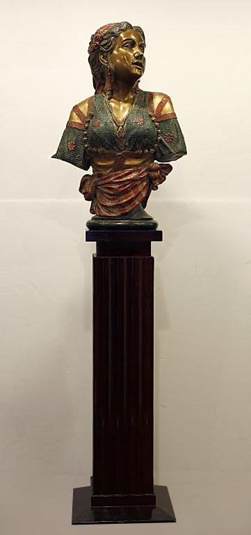 FRENCH PATINATED BRONZE BUST OF AN ALGERIAN LADY