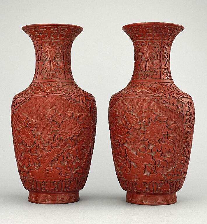 ANTIQUE PAIR OF CHINESE LACQUERED VASES