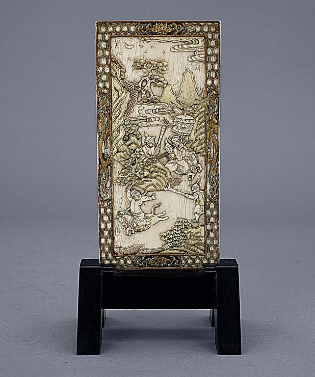 CHINESE CARVED IVORY TABLE SCREEN ON WOODEN STAND