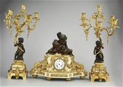FRENCH THREEPIECE FIGURAL GARNITURE CLOCK SET