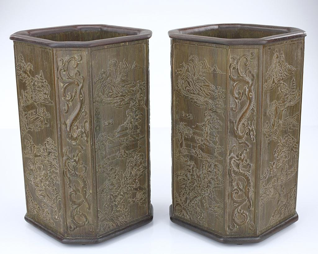 PAIR OF CHINESE CARVED BAMBOO BRUSHPOTS