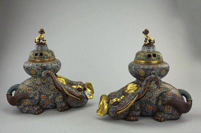 PAIR OF CHINESE CLOISONNE CENSERS WITH COVERS