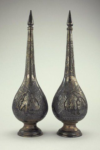 PAIR OF PERSIAN SILVER VASES