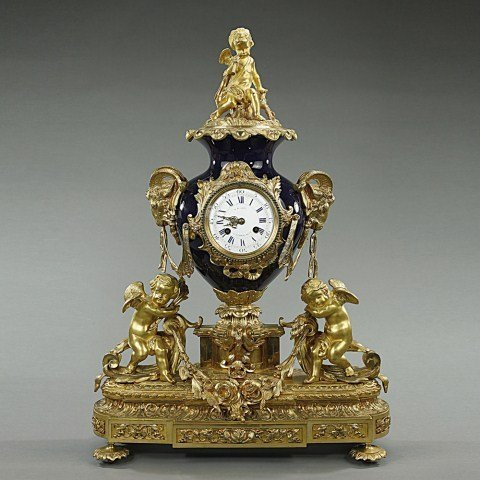19TH C FRENCH GILT BRONZE AND PORCELAIN CLOCK