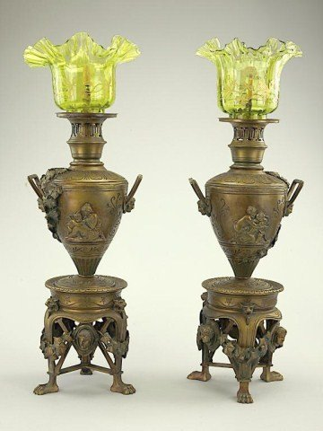 PAIR OF BRONZE VASES MOUNTED AS LAMPS
