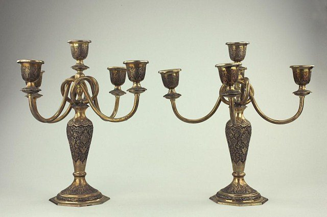 PAIR OF PERSIAN SILVER CANDELABRA