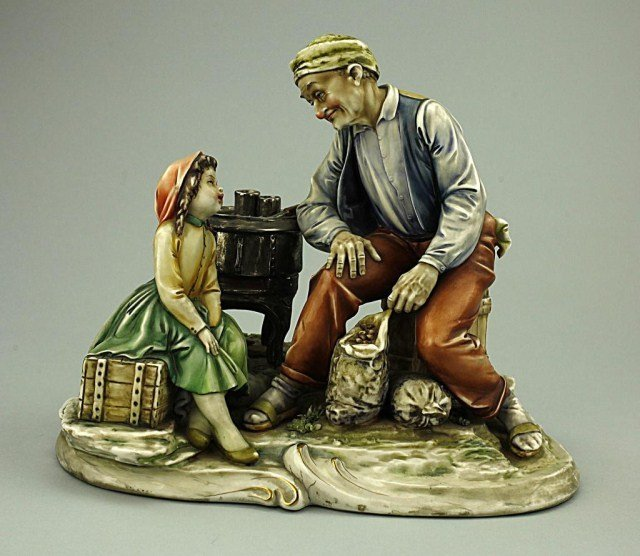 EUROPEAN PORCELAIN FIGURE OF AN OLD MAN AND A GIRL
