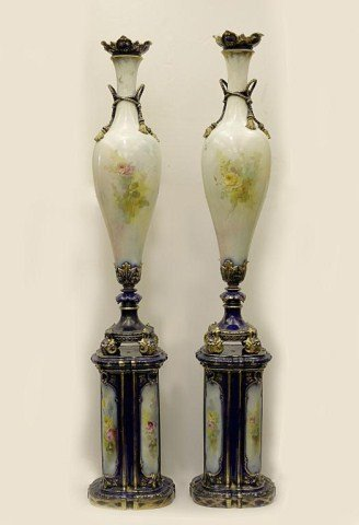 PAIR OF ENGLISH HAND PAINTED POTTERY VASES