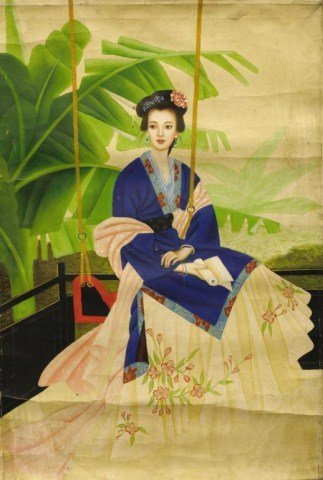 CHINESE OIL PAINTING ON CANVAS OF A BEAUTY