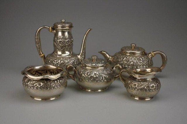 FIVE-PIECE TIFFANY & CO. STERLING SILVER TEA SET
