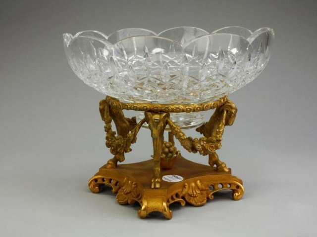 FRENCH GILT BRONZE CENTERPIECE WITH GLASS BOWL
