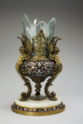 19TH CENTURY FRENCH CHAMPLEVE ENAMELED CENTERPIECE