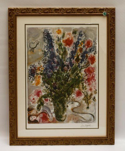 EUROPEAN GILTWOOD FRAMED LITHOGRAPH ON PAPER