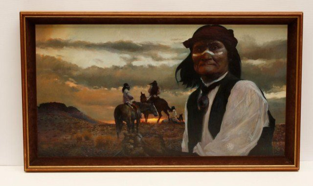 FRAMED OIL PAINTING ON CANVAS OF NATIVE AMERICANS