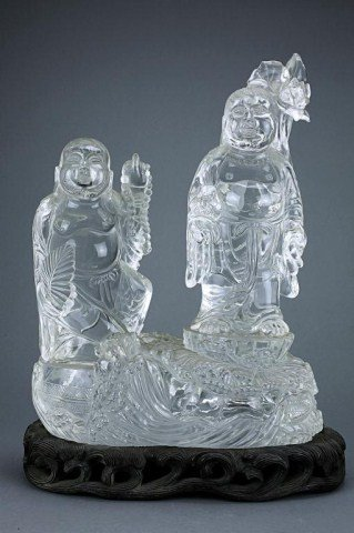 CHINESE CRYSTAL FIGURAL GROUP OF HEHE IMMORTALS