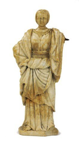 CARVED MARBLE FIGURE OF ROMAN WOMAN