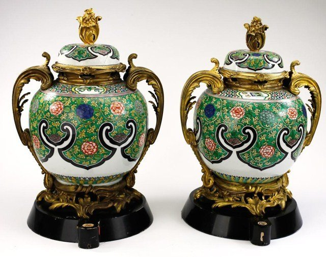 PAIR OF FRENCH GILTBRONZE AND PORCELAIN COVERED JARS