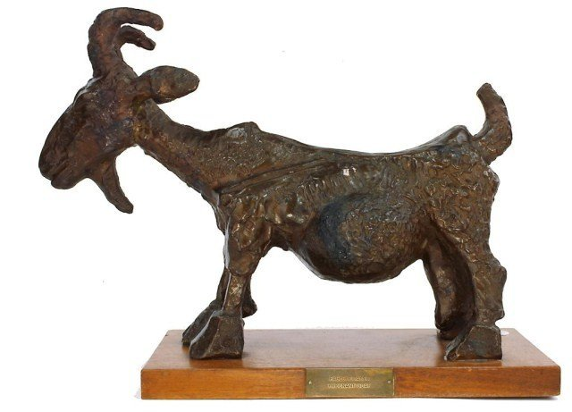 CARVED WOOD FIGURE OF A PREGNANT GOAT